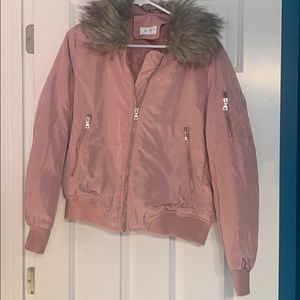 Jackets & Blazers - Blush Bomber Jacket with Removable Hood